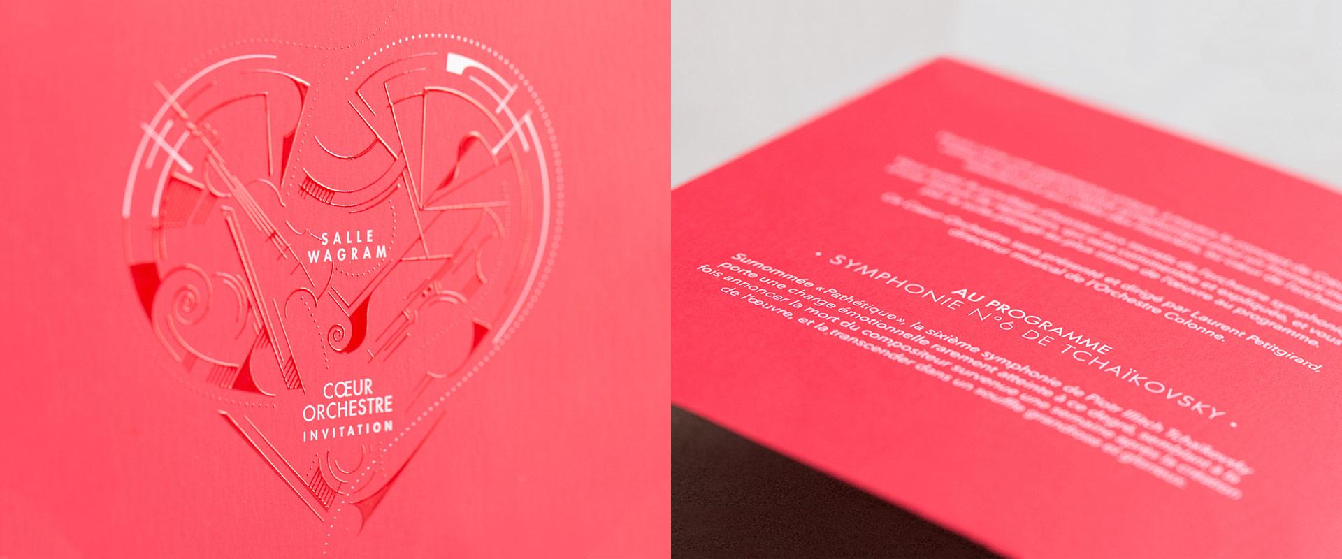 Coeur orchestre invitation vernis relief serigraphie epok design